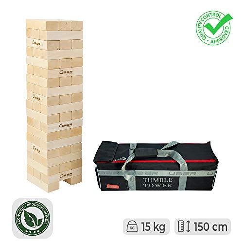 Ubergames Wackelturm XL Spiel Aus ECO Holz - Top Qualität Stapelturm (Pinienholz bis 150 cm)