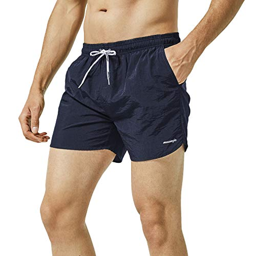 """MaaMgic Mens Slim Fit Shorts Quick Dry Swim Trunks with Mesh Lining Male Bathing Suits,Large(Waist:33""""-35""""),Navy Blue"""