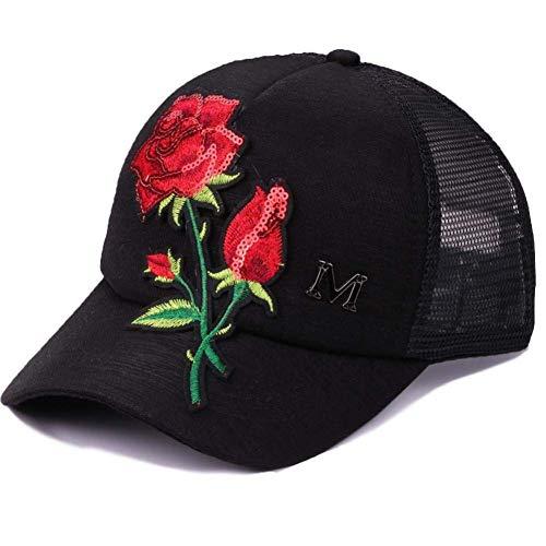 Casquette de baseball rose broderie été casquette de baseball femmes chapeau de voyage décontracté casquettes pour filles réglable hommes noir sequins chapeau Casquette de Baseball de Sport en Plein A