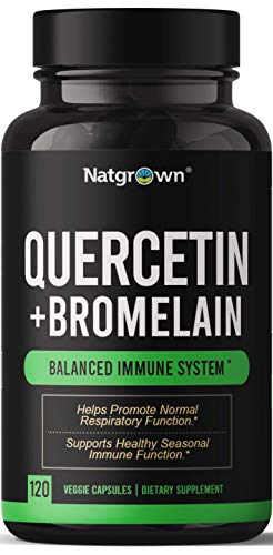 Quercetin with Bromelain Supplement Complex - 500mg Quercetin + 200mg Bromelain per Serving- Helps Promote Cardiovascular Health, Immune Function, and Allergy Support - 120 Capsules