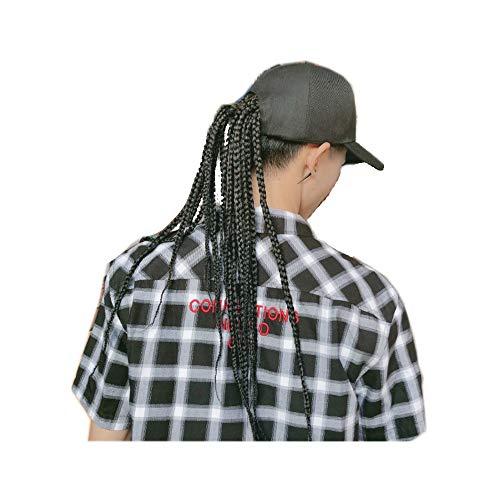 Zwarte baseballcap met Dreadlocks Twisted Pruik Haak Vlechten, Pet van het Golf met hoge temperatuur Fiber Synthetic Extensions Pruiken (Color : Black Wig 45cm)