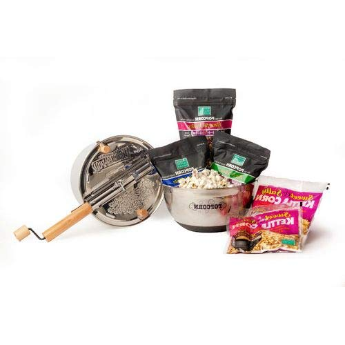 Lowest Prices! OKSLO 7 piece gourmet sweet and salty popcorn set with stainless steel whirley-pop an...