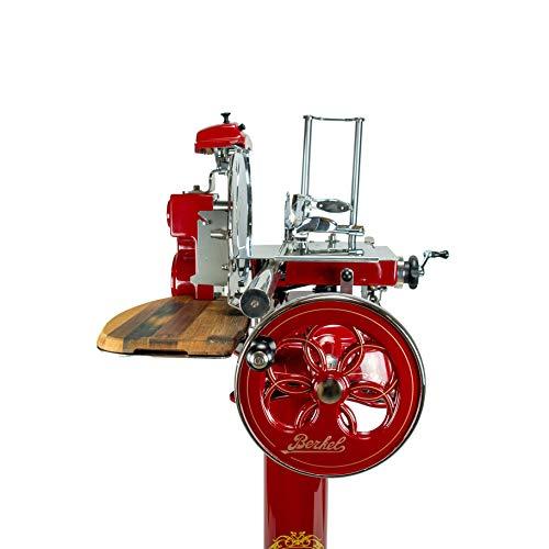 Palatina Werkstatt ® Berkel Volano Tribute | manuelle Aufschnittmaschine mit Blumenschwungrad + Standfuß | rot | + von Hand gefertigtes Fassholzbrett | sofort verfügbar