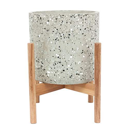 Amazon Brand - Rivet Terrazzo Planter With Wood Stand, 12.6'H, White