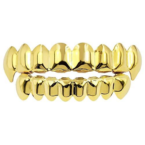 Diealles Shine Gold Grills Hip Hop Teeth Grills für den Mund Oben Unten
