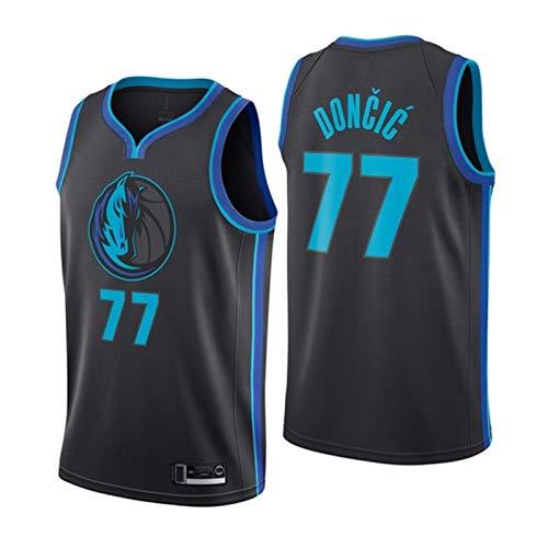 MEASBQ Chaleco de Baloncesto Adulto, Dallas Mavericks Luka Doncic No. 77 Camiseta de Baloncesto, Chaleco de fanáticos, Malla de poliéster, fanático XL
