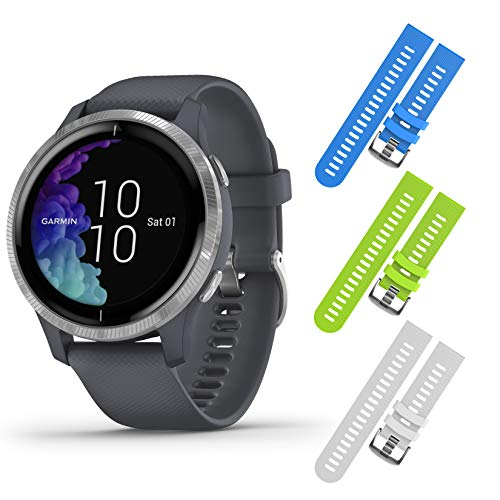 Garmin Venu GPS Smartwatch with AMOLED Display and Included Wearable4U 3 Straps Bundle...