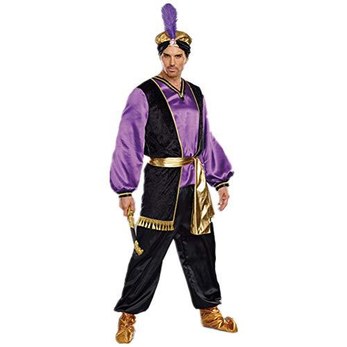 Aini Halloween-jurk, jasmijn prinses kostuum voor volwassenen, hoofddeksel + bovenstukken + broeken, sprookjes, maat: M
