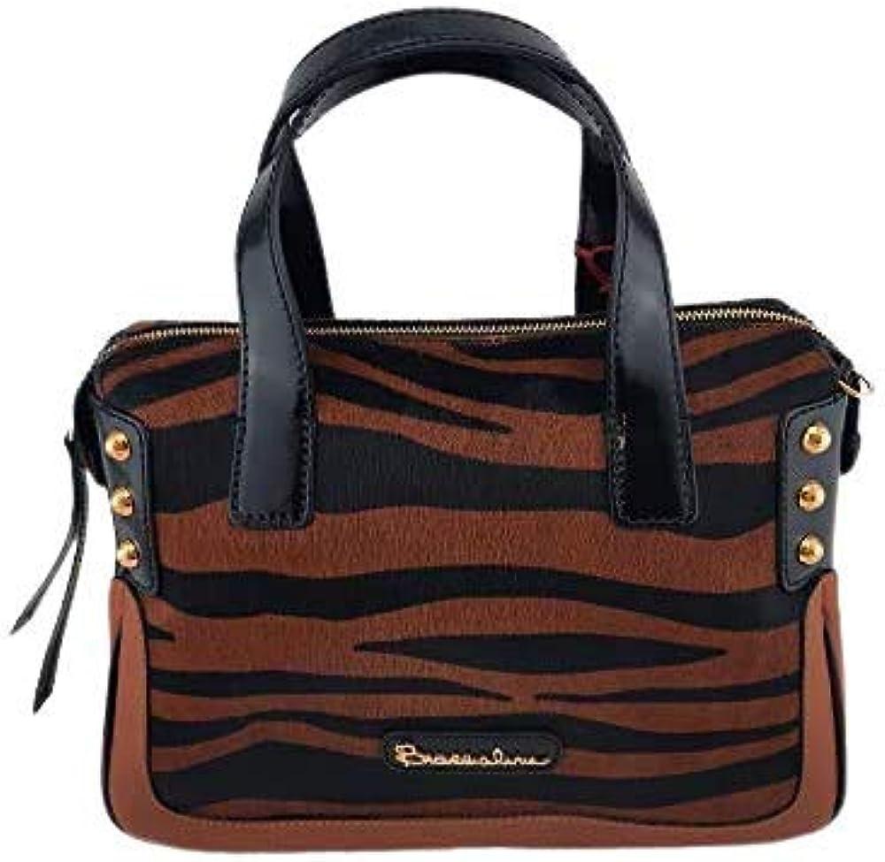 Braccialini, borsa da donna a mano con tracolla in vera pelle,multicolore B9089