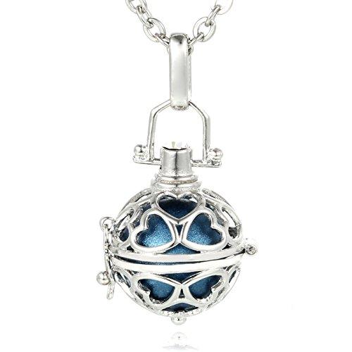Morella® Damen Halskette Edelstahl 70 cm mit Herz-Kugel Anhänger und Klangkugel blau Ø 16 mm in Schmuckbeutel