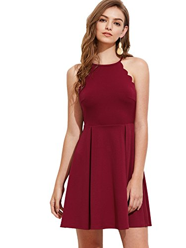 Romwe Women's Sweet Scallop Sleeveless Flared Swing Pleated A-line Skater Dress Burgundy XS