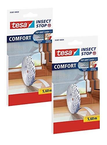 TESA Comfort Refill Roll Fliegengitter Klettband Ersatzrolle, blanco (2x 5,6m (Standard))