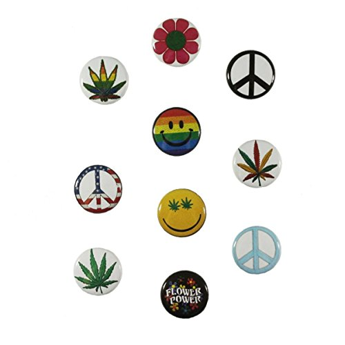 Cool-Patches 10 Assorted Hippie Buttons 1 INCH Peace Weed Smiley Pack Pin Back Badge
