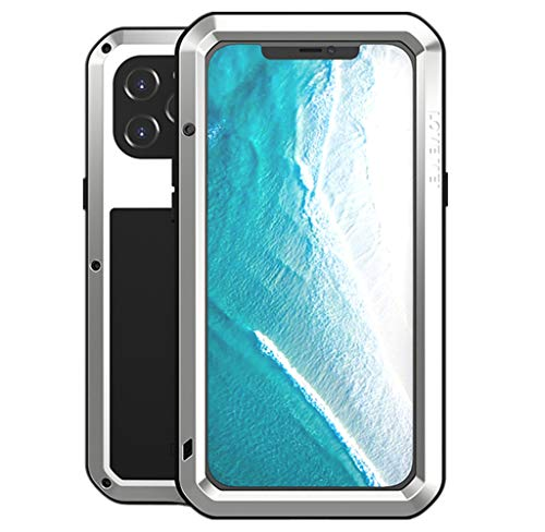 LOVE MEI per iPhone 12 PRO Max Custodia, Outdoor Heavy Duty Antiurto Impermeabile Polvere-Prova Sporcizia-Prova in Alluminio Metallo Cover con Vetro Temperato per iPhone 12 PRO Max 6.7'' (Argento)