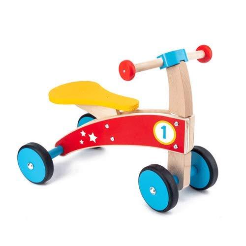 PETRLOY Bicicleta de equilibrio para niños, scooter de equilibrio de madera de cuatro ruedas para niños, antivuelco, pequeño coche de madera, juguetes educativos para bebés masculinos y femeninos (tam