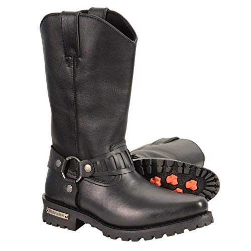 Milwaukee Leather MBM9015 Mens Black 11 Inch Western Style Harness Boots - 9.5