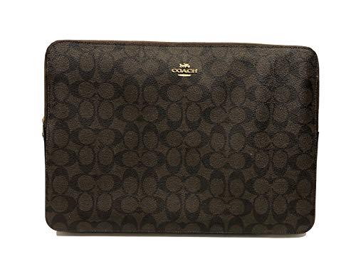 "Coach Crossgrain Leather & PVC 13""-14"" Laptop Sleeve (IM/Brown Black)"