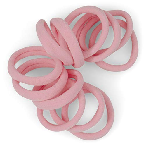 Cyndibands Soft and Stretchy Gentle Hold Seamless 1.5 Inch Elastic Nylon Fabric No-Metal Ponytail Holders - 12 Hair Ties (Light Pink)