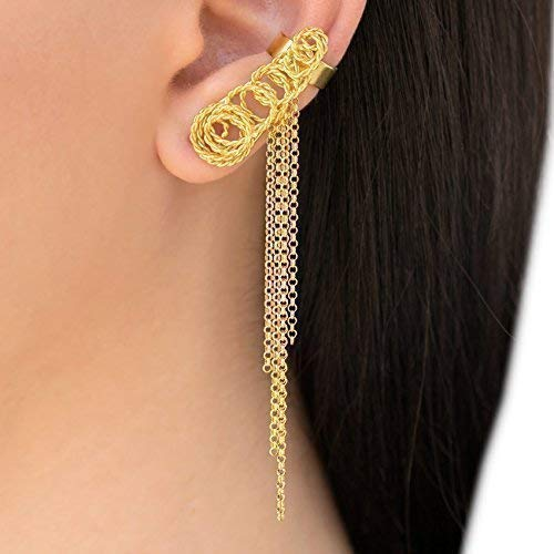 Gift Ear cuff Cuff earrings Sapphire earrings Ear cuff no piercing Ear climber Statement earrings Ear cuff earrings Ear jacket
