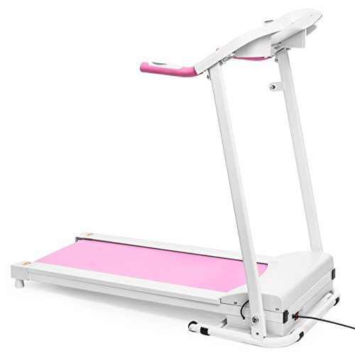 Best Choice Products 800W Portable Folding Electric Motorized Treadmill Machine w/Rolling Wheels - Pink