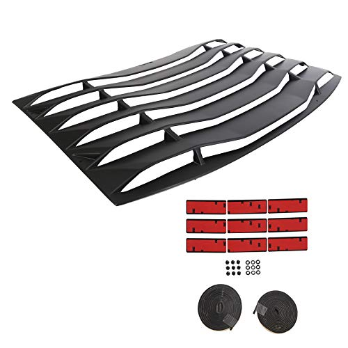 ECOTRIC Rear Window Louver Cover Vent Unpainted Black ABS Fits 2011-2020 Dodge Charger