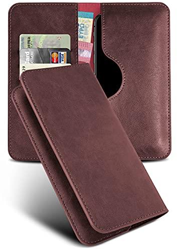 moex Excellence Line Handytasche kompatibel mit ZTE Axon 10 Pro   Hülle Wein-Rot - Mit Kartenfach und Geld + Handy Fach, Klapphülle, Flip-Hülle Tasche, Klappbar