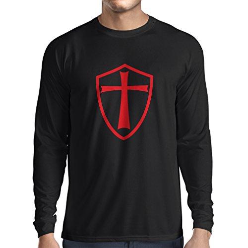 Camiseta de Manga Larga para Hombre Caballeros Templarios - Escudo de los Templarios (X-Large Negro Rojo)