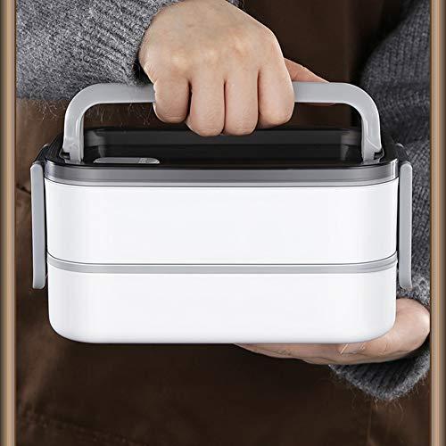 TOHHOT Caja Bento de Acero Inoxidable, Fiambrera Cuadrada de Doble Capa Contenedor de Comida Aislado Contenedores de Comida portátiles Fiambrera 3 Compartimentos + Bolsa Aislante