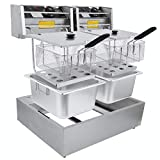 Commercial Deep Fryers with Basket and Temperature Control, Electric Stainless Steel Countertop Deep...