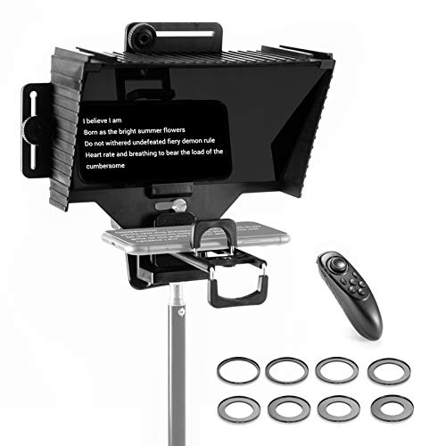 Adjustable Large Screen Teleprompter, Compatible with Camera, Supporting Mobile Phone Teleprompter Device,One-Way Reflection Portable Teleprompter with Light Splitting Glass Screen with Remote Control