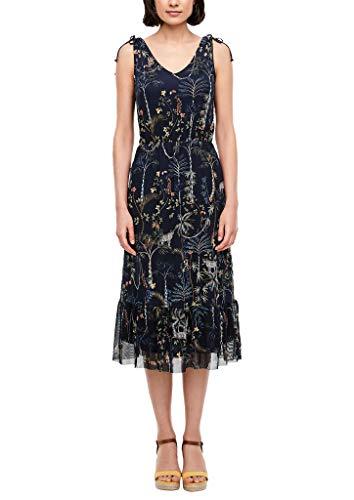 s.Oliver Damen Mesh-Kleid mit Blumenmuster navy AOP floral 38
