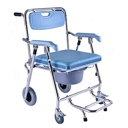 RRH-Bathroom Wheelchairs Bedside Commodes Wheelchair foldable toilet chair Lightweight aluminum alloy waterproof, with folding footrest toilet, suitable for people with reduced mobility Bathroom Wheel