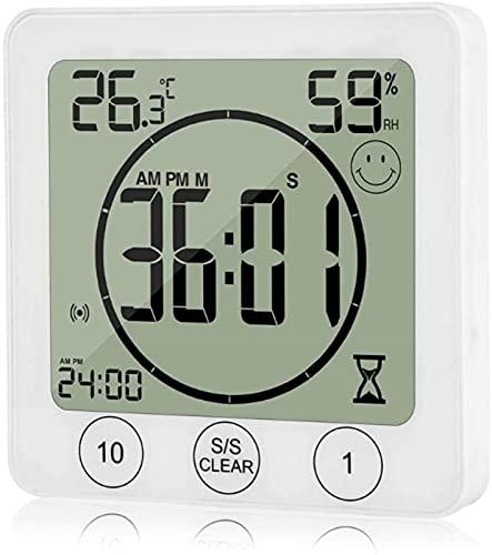 XQMY Temporizador de Cocina LCD Baño Reloj de Pared Temperatura Humedad Cuenta Regresiva Temporizador de Ducha Impermeable para cocinar y Hornear