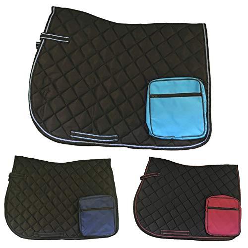 netproshop Wanderschabracke Satteldecke mit Tasche auf beiden Seiten, für Wanderreiten, Auswahl:Schwarz/Dunkelblau