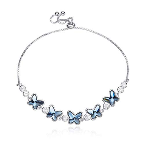CHYIA Pulsera para Mujer, De Plata De Ley 925, Diseño De Mariposa Azul,Regalo De Cumpleaños Regalo De Boda, Longitud Total 26 Cm (Ajustable)