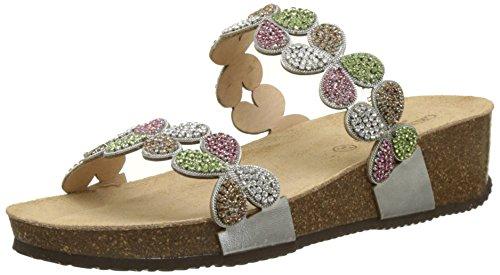 GRUNLAND Anin, Zapatos de Playa y Piscina Mujer, Multicolor (Argento/Multi Agml), 36 EU