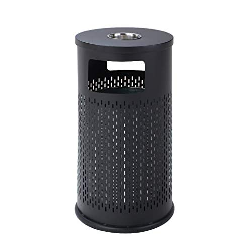 OPYTR Papelera Reciclaje de residuos Contenedores de Compost Cubos de Basura de Acero Inoxidable/al Aire Libre con cenicero Bote de Basura Poroso Hotel Lobby Street Peel Cubo Galón