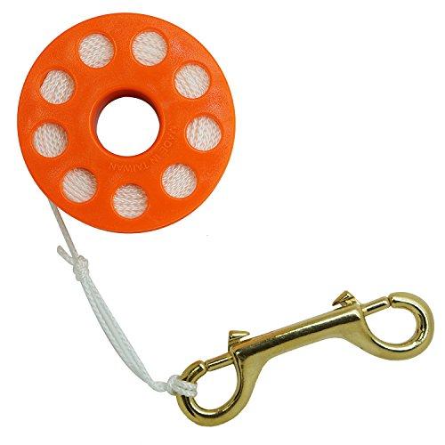 Scuba Choice Diving Orange Compact Finger Spool 65ft Dive Reel- White Line