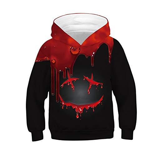 NAID Kinderen Zwarte Hoodie 3d Bloed Print Hooded Sweatshirt Halloween Jongen Meisje Tops Party Kostuum Unisex