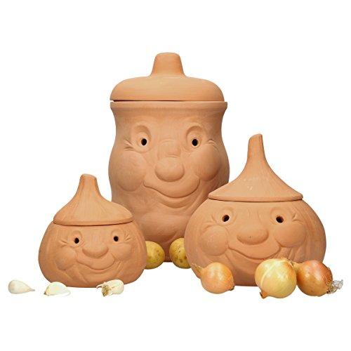 MamboCat Terracotta Tontöpfe Vorratsdosen-Set Kartoffel Zwiebel Knoblauch Töpfe Set mit Deckel I Aufbewahrung Zwiebeln Kartoffeln Knoblauch-Behälter I Kartoffeltopf Zwiebeltopf Knoblauchtopf Set