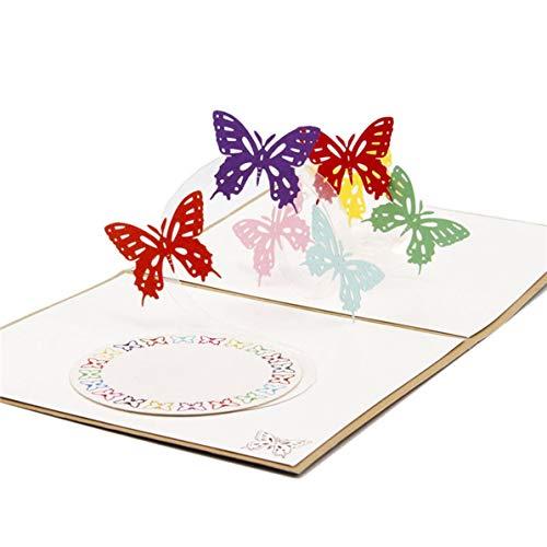 Monlladek 3D-Grußkarte, Creative 3D EIN Schmetterling Grußkarte Geburtstagskarte Festival Segen Karte Papier Geschenkkarte Dekor Lieferungen