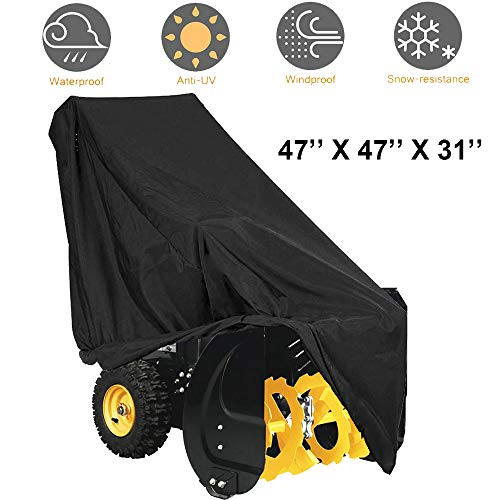 FLYMEI Snow Thrower Cover, 420D 2 Stage Snow Blower Covers Windproof Universal Size for Most Electric Snow Blowers with Locks Drawstring, Durable All-Weather Outdoor Protection