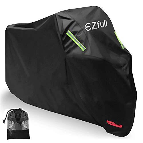 Funda para Moto EZfull 210D Oxford Funda Protector Cubierta de la Moto Impermeable A Prueba de UV Agujeros de Bloqueo 245 x 125 x 105 cm con Cubierta contra Viento Bolsa de Almacenaje, Negro