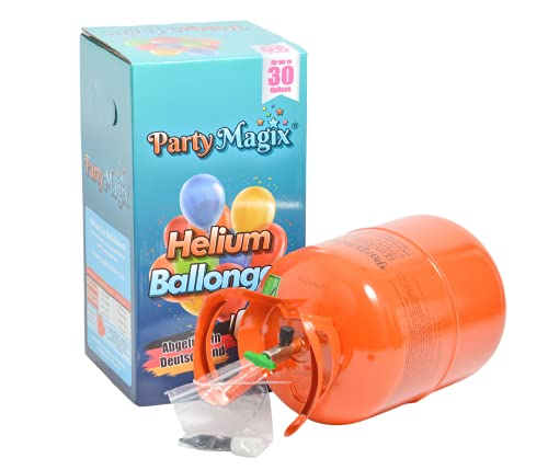 PartyMagix Helium Premium Ballongas - Abgefüllt in Deutschland - für 30 Ballons Flasche Gasflasche Balloon Gas Geburtstag Deko Party Hochzeit Luftballons Einweg (für ca 30 Ballons)