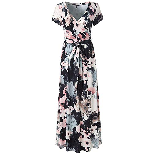 Lover-Beauty Sommerkleider Damen Blumen Maxi Kleid Kurzarm Abendkleid Strandkleid Party M
