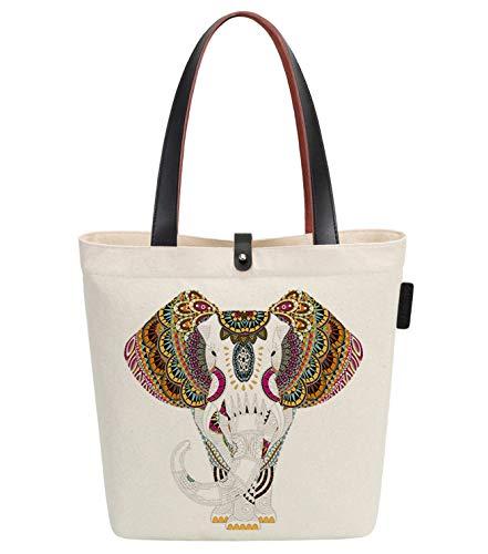So'each Canvas & Beach Tote Bag Aztec Elephant Print 38 centimetri 10 litri Beige