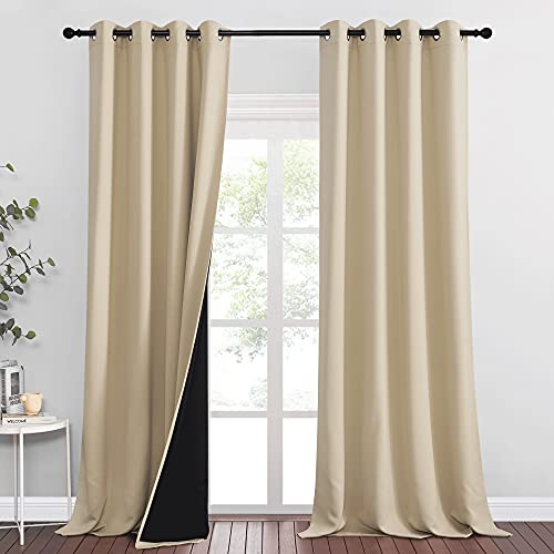 RYB HOME 2 Layers 100% Blackout Curtains, Sunlight UV Block Solar Drapes, Extra Long Curtains for Bedroom Living Room Gazebo Door Backdrop Window Decor, W 52 x L 95 inch, Biscotti Beige, 2 Pcs