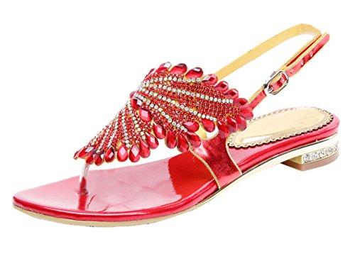 Honeystore Funkelnde Glitzer Niederiger Absatz Sandalen mit Strass Kristall Schuhe Rot 37 EU