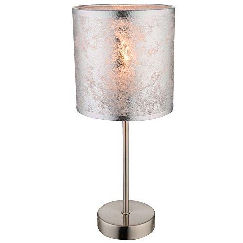 Tafel lamp logeerkamer leeslamp zilver stof scherm nachtlicht schakelbaar Globo 15188T