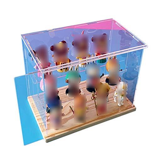 LM-Coat rack XINGLL Acrílico Vitrina Transparente, Caja Figuras Prueba Polvo con Escalones 2 Niveles, para Figuras Coleccionables, Juguetes, Protección Almacenamiento Modelos, Base Madera